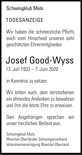 Todesanzeige +Josef Good-Wyss